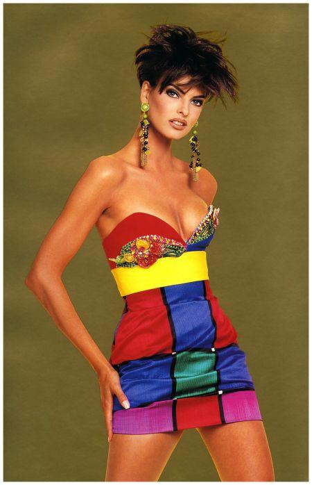 Linda Evangelista in Versace by Francesco Scavullo, 1990