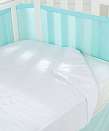 The BreathableBaby 3- in-1 Fitted Mattress Protector Pad is a quilted, luxury mattress pad with three layers to promote airflow, keeping baby dry during the night.