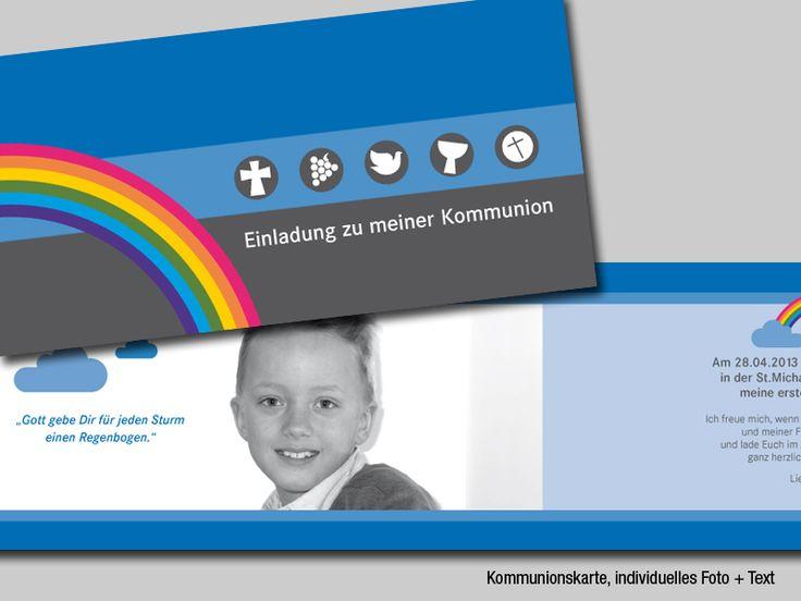 Kommunion Einladung Indiv. Foto + Text, Regenbogen