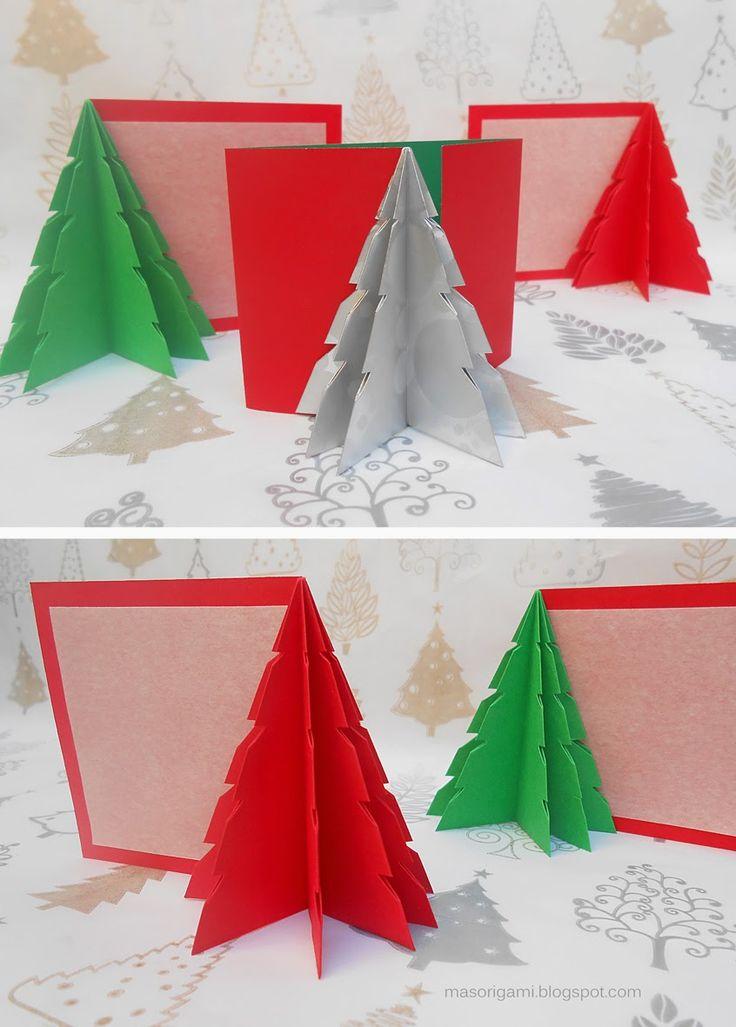 origami - tarjetas de Navidad plegadas con papel con motivos de origami