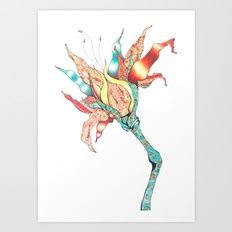 Japanese Wildflower Giclée art print by Kerise Delcoure. This mixed-media artwork was created using coloured pencils, ink and delicately collaged hand-made Japanese papers. Available at https://society6.com/kerisedelcoure.