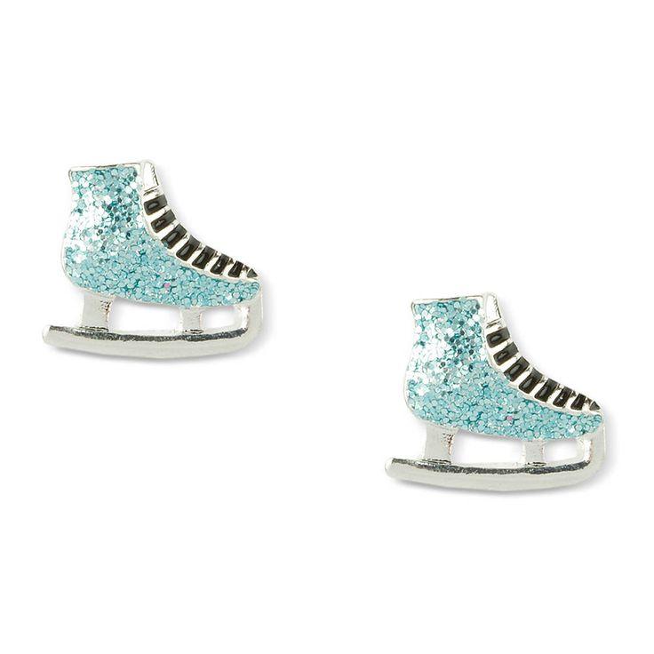 Blue Glitter Ice Skates Stud Earrings Ice Skating