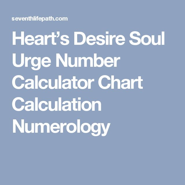 Heart's Desire Soul Urge Number Calculator Chart Calculation Numerology