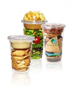GreenWare Snack Cups--An idea for food trucks-- how to serve hummus and pita chips, salad or salsa and chips.