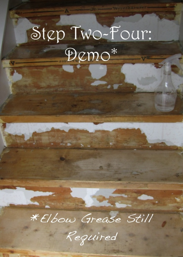 Linoleum removal - stairs  DIY: Painting our Stairs. Basement stairs project