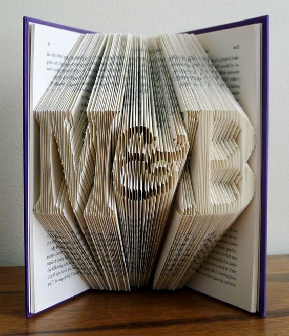 Gift for Boyfriend Anniversary Girlfriend - Paper Anniversary Gift - Monogrammed Gifts - Gifts for Him / Her Folded Book Sculpture -