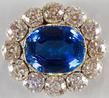 Queen Victoria Sapphire Brooch - this was given to Victoria by Prince Albert on the eve of their wedding day in 1840. She apparently wore this on the big day.
