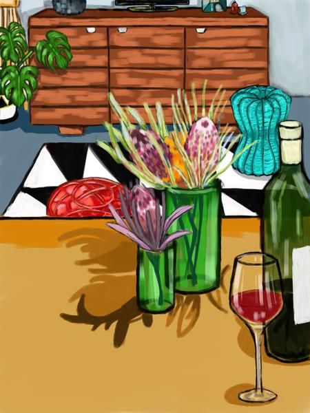 Drawn by Megan Bree - Purchase Proteas with wine glass (A4) print – Sole Service