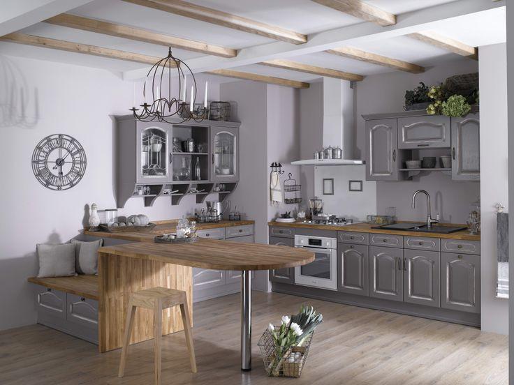 Cuisine Saveur grege. Les meubles de cuisine Saveur offrent une esthétique tout en finesse.  À mi-chemin entre la cuisine à l'ancienne en chêne massif et la cuisine design aux teintes modernes, la cuisine Saveur est de toute façon incontournable !