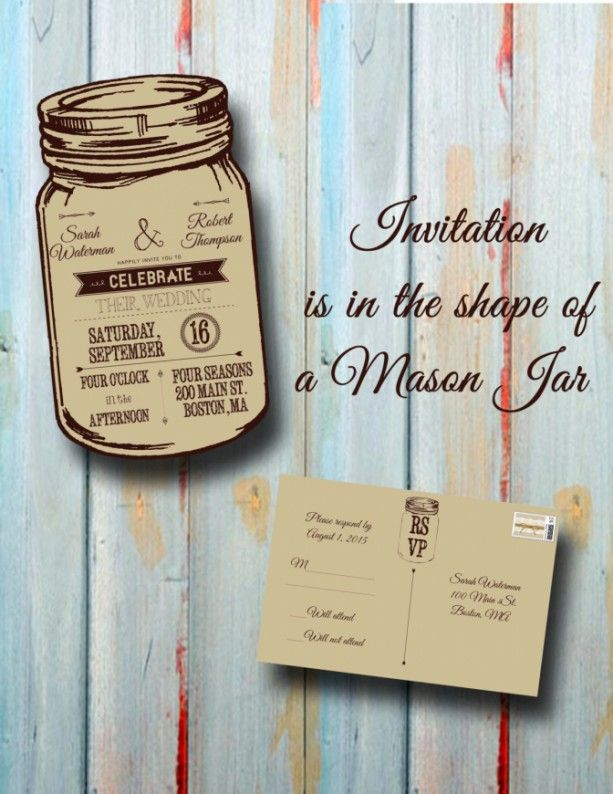 522 best wedding wedding inspiration images on pinterest for Mason jar beach wedding invitations