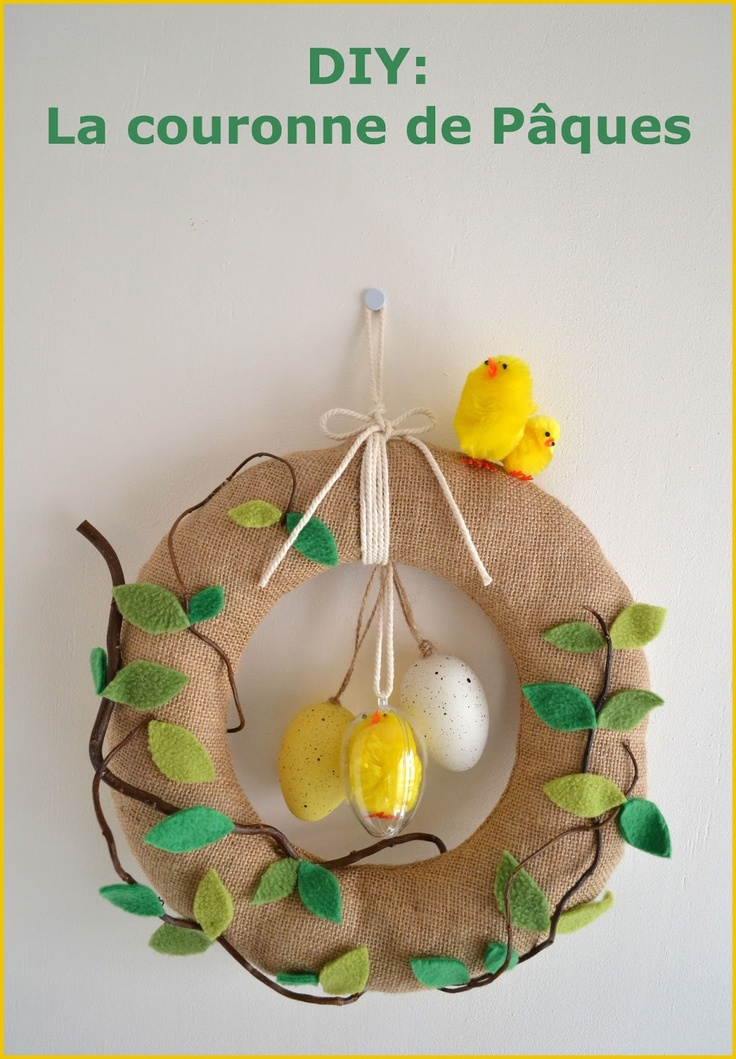 Funky Sunday: La couronne de Pâques DIY  Easter, DIY, tuto couture, How to, wrealth, sewing, craft, easy, burlap, green, birds, spring, home, maison, printemps, poussin, oeufs, eggs