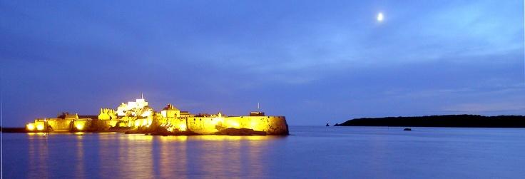 Elizabeth Castle at night, St Aubin's Bay, Jersey Channel Islands