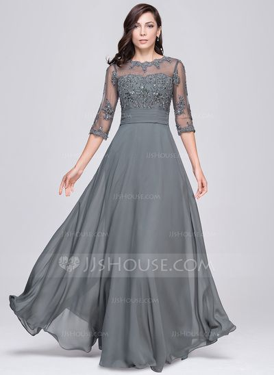 [US$ 179.99] A-Line/Princess Scoop Neck Floor-Length Chiffon Evening Dress With Ruffle Beading Appliques Lace Sequins
