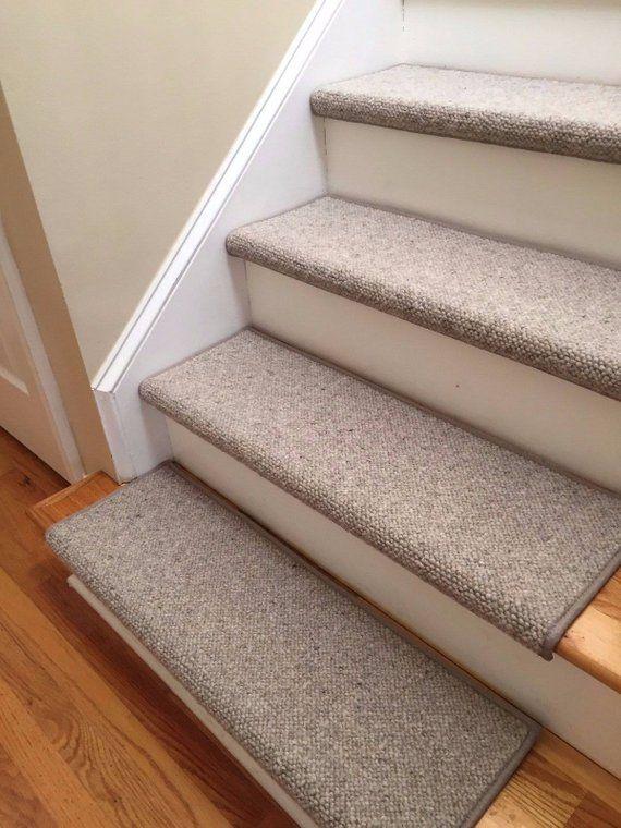 Alfa Stone 100 Wool True Bullnose™ Padded Carpet Stair Tread   Stair Treads For Carpeted Steps   Carpet Protectors   Skid Resistant   Bullnose Carpet   Anti Slip Stair   Wood