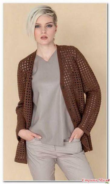 Opengewerkte gehaakte jas. Een eenvoudig patroon in de kunst filet. - Gebreide mode + NEMODELNYH voor Dames - Land Mom