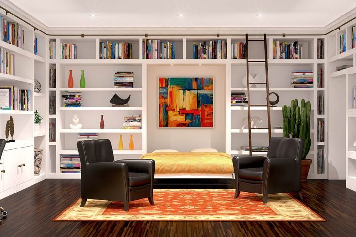 Office Room Idea W Murphy Bed Library And Rolling Ladder When You Add A B Add Bed Idea Ladder Librar Modern Murphy Beds Murphy Bed Ikea Wall Bed