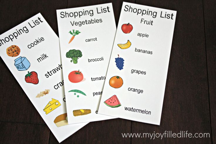 British Columbia Kindergarten Language Arts C3 - These are printable shopping lists, but have students create their own, using these as scaffolds, to meet writing outcome.