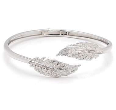 Sterling Silver Rhodium Plate Diamond Feather Hinged Cuff