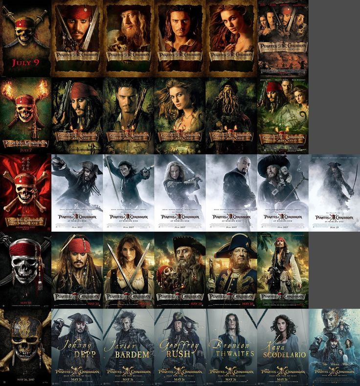 Pirates of the Caribbean and their different movie covers