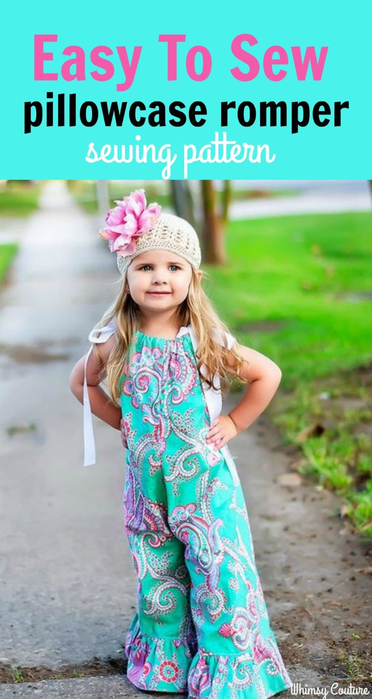 Easy girls pillowcase romper sewing pattern for download. This pattern is great because you won't have to print and tape 100's pages. It is a cut-by-measurement pattern. That means, there is a cutting chart and only small cutouts for necessary curves.  (affiliate link)