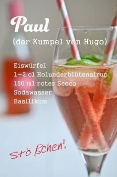 #cocktail #rezept: Paul, der Kumpel von Hugo. Mit Holunderblütensirup, Basilikum und rotem Secco. (www.rheintopf.com)