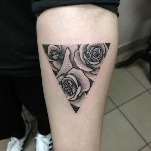 Rose Triangular Glyph Tattoo by Klaudia Hołda