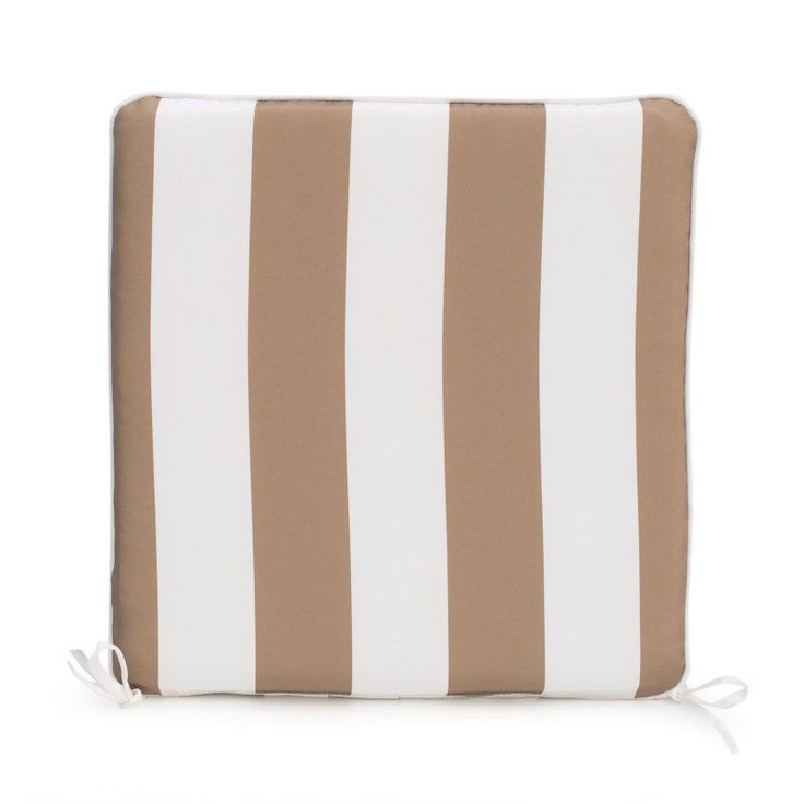 Coral Coast Lakeside 19 x 18 in. Rocking Chair Seat Pad Taupe Thick Stripe - TRENDM006-1-TAUPESTRIPE