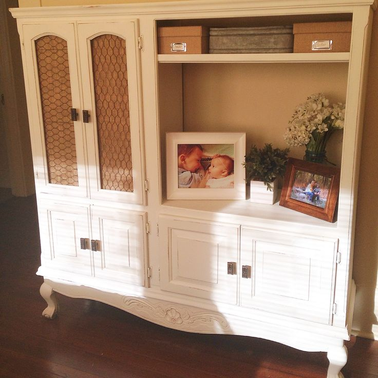 Repurposed TV cabinet / entertainment center into storage / dresser - white distressed with chicken wire and burlap!