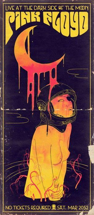 Pink Floyd , após a arte do cartaz psicodélico. Existe um contraste entre o…