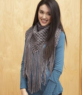Bernat Satin Sparkle - Big Fringe Triangle Scarf (crochet)