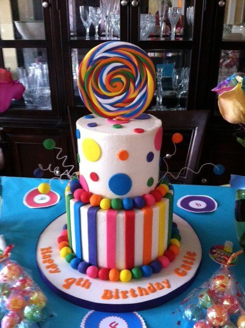 Colorful cake! I would have this as my birthday cake