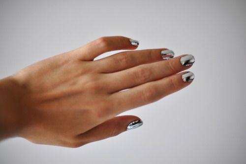 : Nail Polish, Mirror Nails, Style, Silver Nails, Metallic Nails, Beauty, Chrome Nails, Nail Art