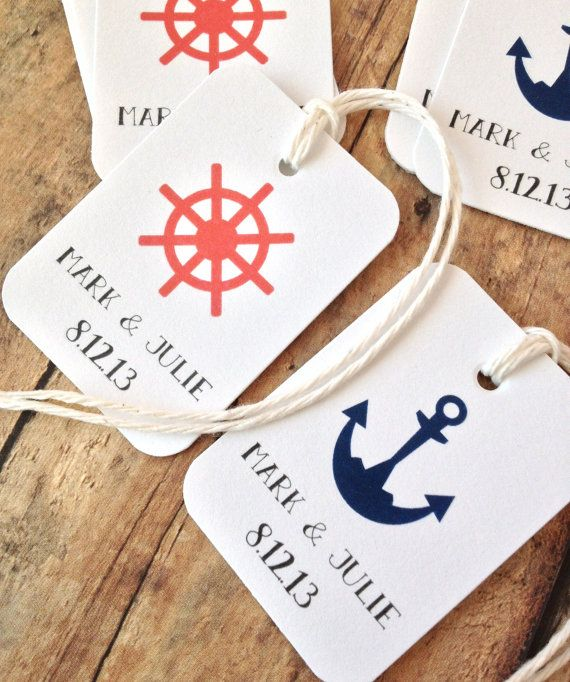 Beach wedding favor tags anchor tags nautical by PrintSmitten