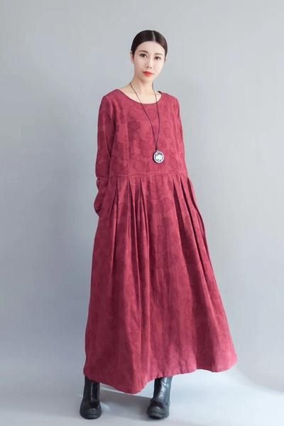 Flower Long Sleeve Casual Maxi Dresses Women Clothes in Red 8007