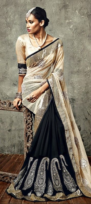 140181: #mbroidered Sarees, Georgette, Net, Zari, Border, Lace, Machine Embroidery  #saree #monochrome #paisley #sequin #shimmer #wedding #partywear #embroidery #onlineshopping