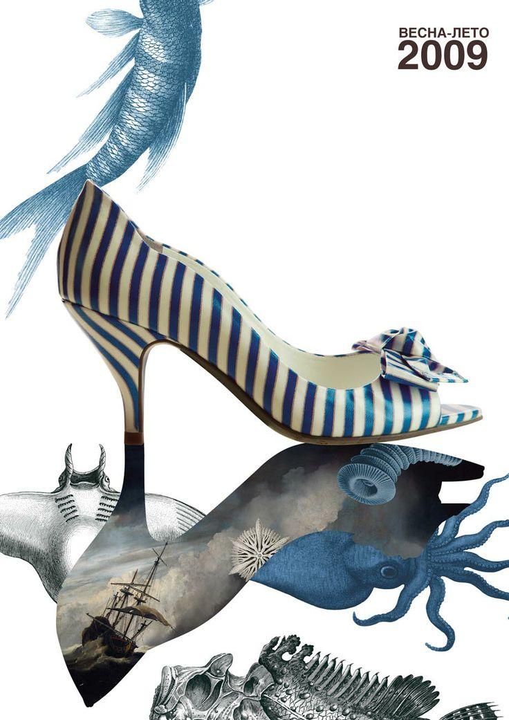 Весна-лето 2009 - затейливый фон, в который мастерски вписана обувь ЭКОНИКА