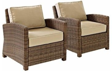 Biltmore 2 Piece Outdoor Wicker Seating Set  -  Two Arm Chairs, Sand transitional-outdoor-lounge-chairs