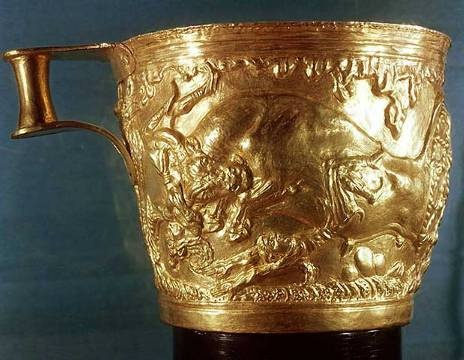 Minoan cup found at Vaphio near Sparta.