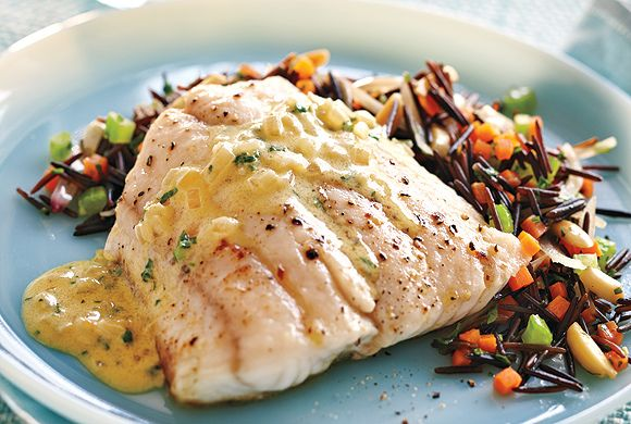 Pickerel With Mustard Cream Sauce and Wild Rice Pilaf recipe - Canadian Living