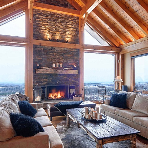 Normerica timber frame post beam construction wood for Post and beam living room ideas