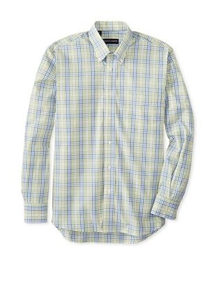 61% OFF Kenneth Gordon Men's Gingham Button-Down Sportshirt (Green)