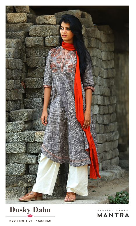 A collection of kurtas in Dabu-printed fabrics with eye-catching embroidery and detailing that highlight the beauty of this ancient mud-resist printing. Dusky dabu is out in our stores. SHOP NOW at http://bit.ly/1UgxCCt