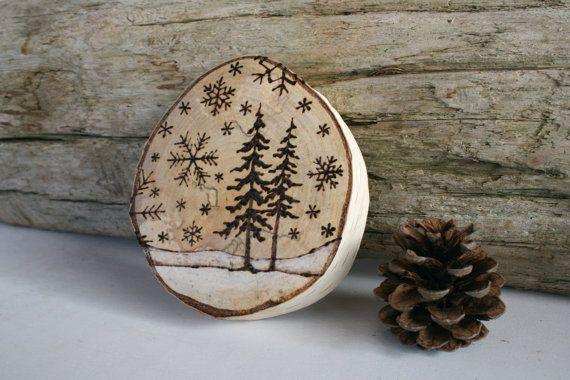 RISERVATI - Winter Wonderland - bosco natura arte - arte di stufe a legna originale sulla grande betulla tondo