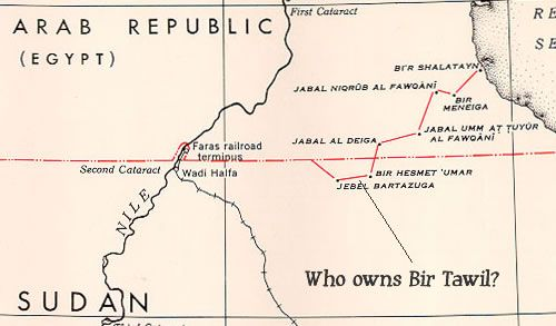 Bir Tawil Triangle, one of only two areas of land on Earth not claimed by any country (Egypt and Sudan both thought the other country owned it.)
