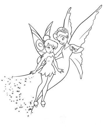 La Tímida Campanilla yla Reina Clarion Dibujo para colorear