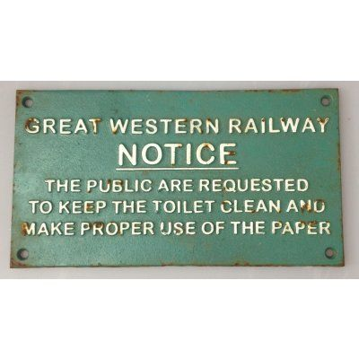 "Great Western ""Notice"" Sign Cast Iron 29 x 16cm"