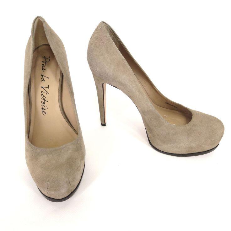 Pour La Victoire 7 Irina Taupe Suede Stiletto Heels Womens Dress Platform Shoes #PourLaVictoire #Stilettos #WeartoWork