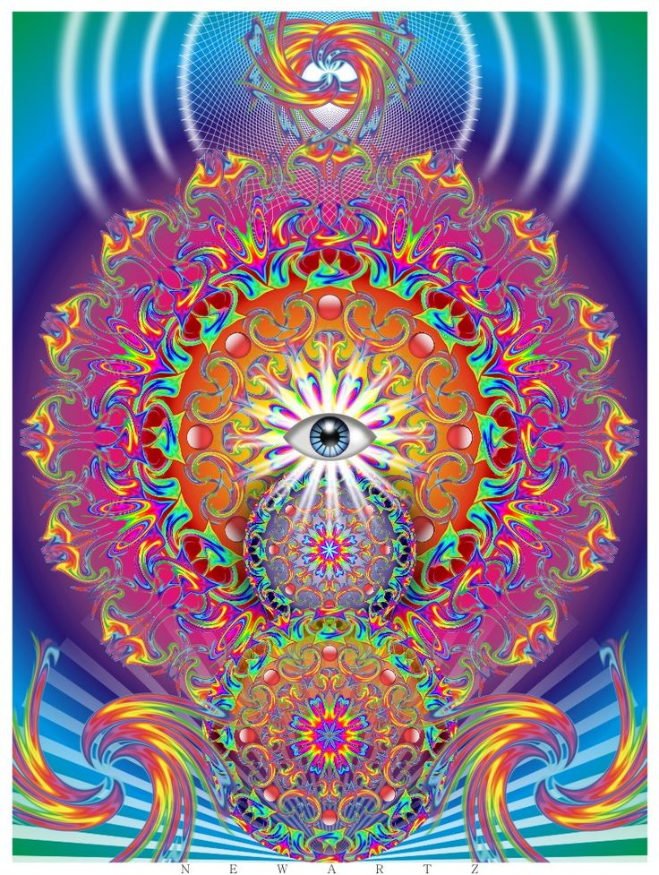 all seeing eye mandala art psychedelic art visionary art third eye evil eye with bright colors colours
