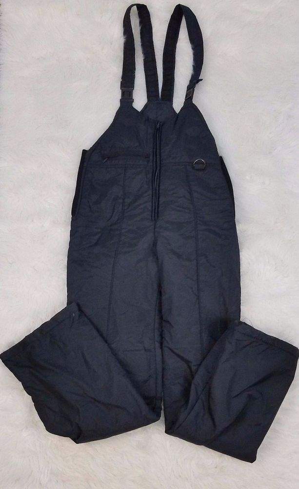 Ski Gear Youth Ski Pants Bib Size XL Black Nylon Lined Waterproof #SkiGear