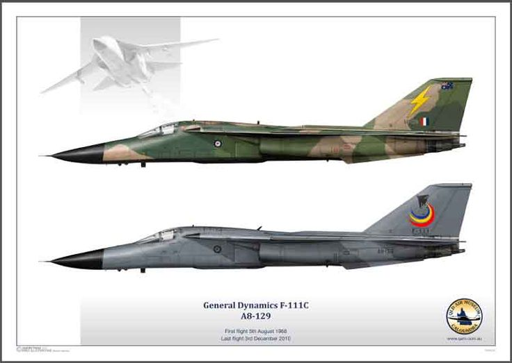 QAM AIRCRAFT COLLECTION, special print of General Dymanics F-IIIC in her grey livery and her new livery after her final fight. Drawings by Juanita Franzi, Aero Illustrations. Print is for sale at QAM.